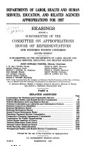 Departments of Labor  Health and Human Services  Education  and Related Agencies Appropriations for 1997