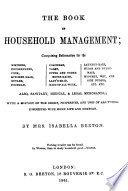 """""""The Book of Household Management"""" by Mrs. Beeton (Isabella Mary)"""