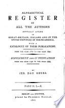 Das gelehrte England  oder Lexikon der jetzlebenden Schriftsteller in Grosbritannien  Irland und Nord Amerika  von Jahre 1770 bis 1790  Nachtrag und Fortsetzung  1790 bis 1803