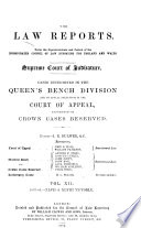 The Law Reports  Queen s Bench Division Book