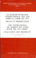 Pdf Le Marché Pétrolier International Dix Ans Après la Crise de 1973 Telecharger