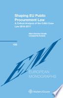 Shaping EU Public Procurement Law