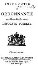 Instructie en ordonnantie voor commissarissen van de desolate boedels
