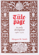 The Title page  Its Early Development  1460 1510