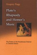 Plato s Rhapsody and Homer s Music