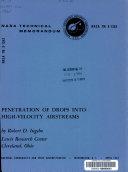 Penetration of Drops Into High-velocity Airstreams