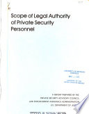 Scope of Legal Authority of Private Security Personnel