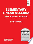 ELEMENTARY LINEAR ALGEBRA APPLICATIONS VERSION, 9TH ED
