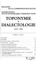 Bulletin de la Commission royale de toponymie   dialectologie