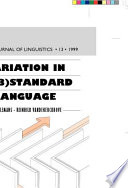 Variation in (Sub)Standard Language