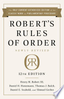 Robert S Rules Of Order Newly Revised 12th Edition PDF