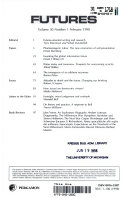 Futures the journal of forecasting, planning, and policy