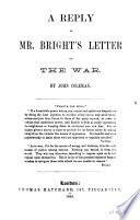 A Reply to Mr  Bright s Letter on the War Book