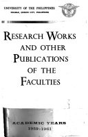 Research Works And Other Publications Of The Faculties