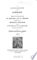 A Catalogue Of The Library Of The College Of St Margaret And St Bernard