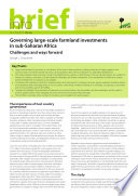 Governing large scale farmland investments in sub Saharan Africa  Challenges and ways forward