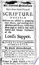 Sacramental meditation upon divers select places of Scripture  etc Book