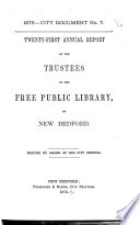 Annual Report Of The Trustees Of The Free Public Library
