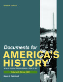 Documents for America's History, Volume 2