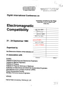 Eighth International Conference on Electromagnetic Compatibility  21 24 September  Venue Heriot Watt University  Edinburgh  UK