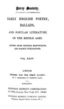 Early English Poetry  Ballads and Popular Literature of the Middle Ages