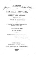 Elements of General History  ancient and modern     The fifth edition  corrected and improved