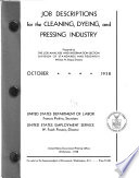 Job Descriptions for the Cleaning  Dyeing  and Pressing Industry