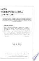 Acta neuropsiquiátrica argentina  , Volume 5