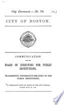 Communication     transmitting information relating to the Public Institutions  in compliance with an order of the City Council  dated July 24  1871 Book PDF