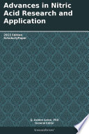 Advances In Nitric Acid Research And Application  2013 Edition