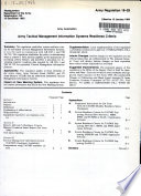 Army Tactical Management Information Systems Readiness Criteria