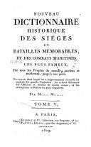 Nouveau dictionnaire historique des sièges et batailles mémorables, et des combats maritimes les plus fameux