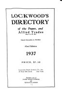 Lockwood s Directory of the Paper and Stationary Trade
