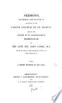 Sermons; doctrinal and practical