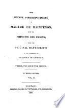 The Secret Correspondence Of Madame De Maintenon With The Princess Desursins Book PDF