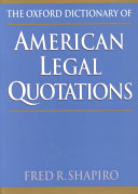 The Oxford Dictionary Of American Legal Quotations PDF