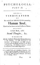 Psychologia  or  an Account of the nature of the rational soul  etc