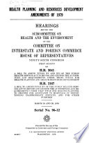 Health Planning and Resources Development Amendments of 1979