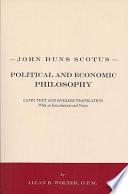 John Duns Scotus  Political and Economic Philosophy