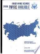 Foreign Affairs Research Special Papers Available Union Of Soviet Socialist Republics
