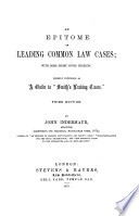 An Epitome of Leading Common Law Cases