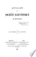 Annales de la societe scientifique de bruxelles