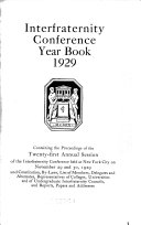 Interfraternity Conference Year Book Book