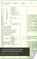 A Manual of the Land Revenue Systems and Land Tenures of British India