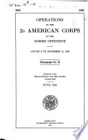Operations of the 2d American Corps in the Somme Offensive, August 8 to November 11, 1918