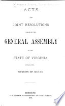 Acts Passed at a General Assembly of the Commonwealth of Virginia Book
