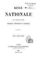 Revue nationale et étrangère, politique, scientifique et littéraire