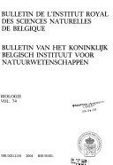 Bulletin Van Het Koninklijk Belgisch Instituut Voor Natuurwetenschappen