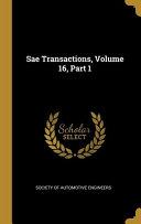 Sae Transactions  Volume 16  Part 1