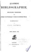 Allgemeine bibliographie